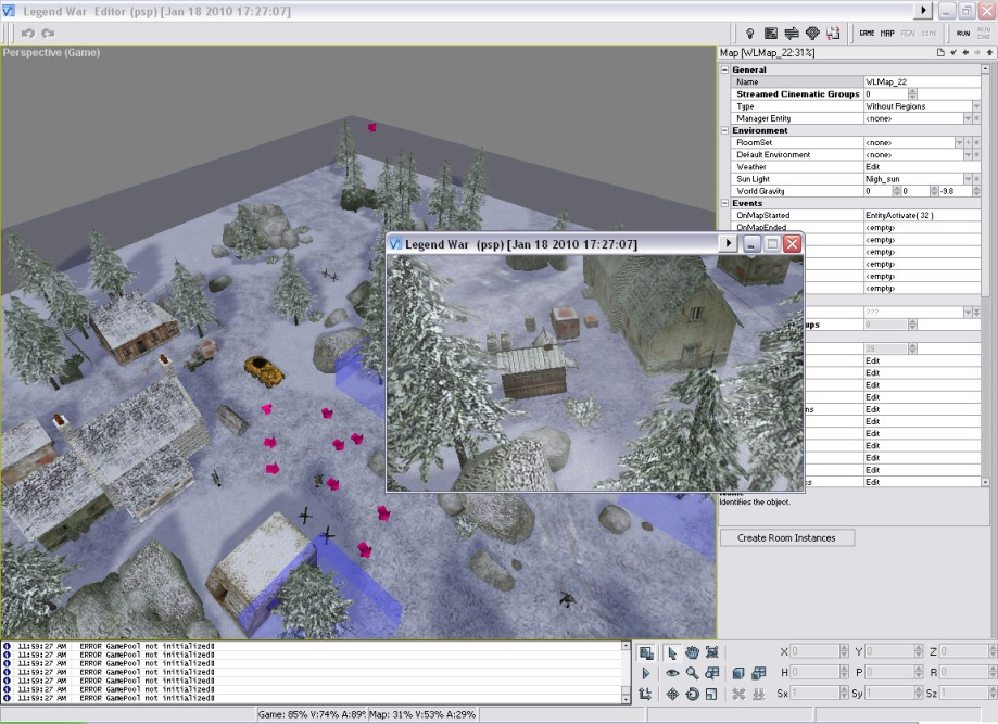 Level building - Snow-covered town scene